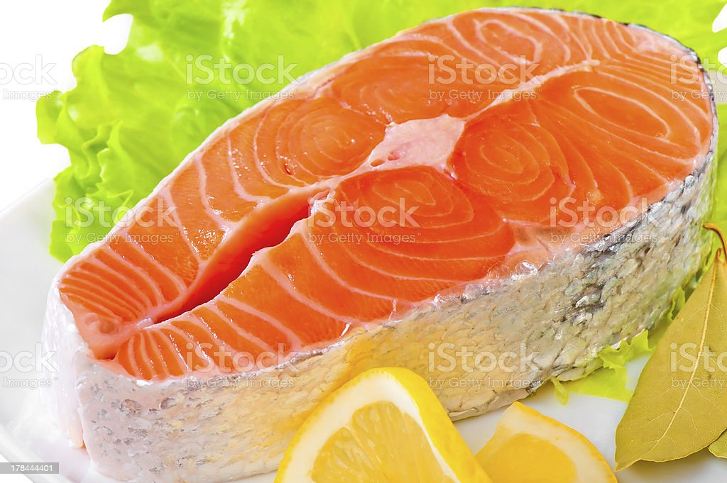 Fresh uncooked Pacific Coast Salmon royalty-free stock photo