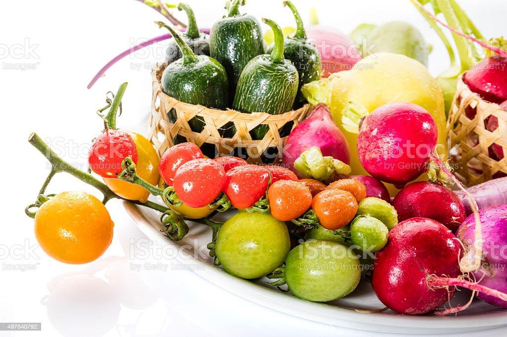 Frische vagetables in Platte Lizenzfreies stock-foto