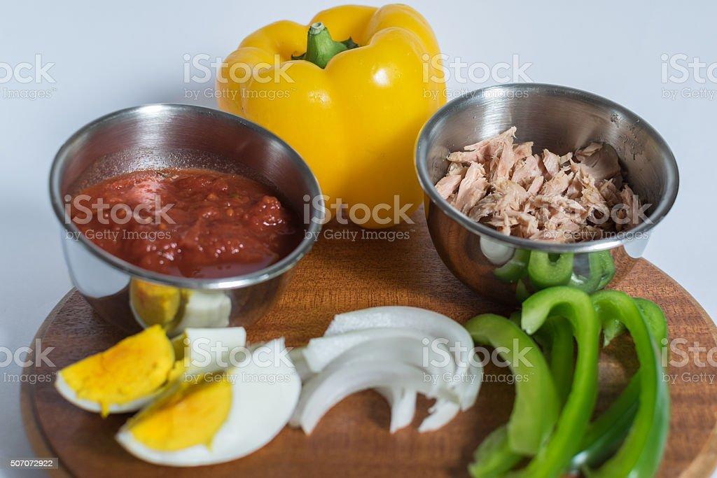Fresh various vegetables ingredients stock photo