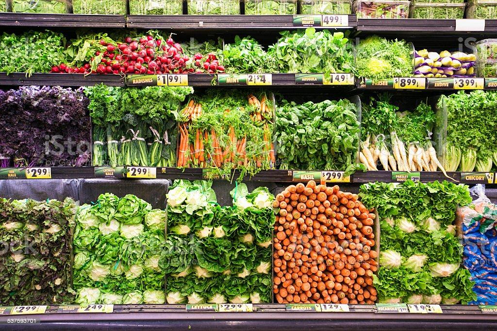 Fresh vegetable display stock photo