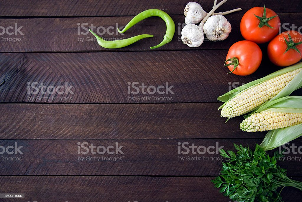 Fresh vegetable frame background stock photo