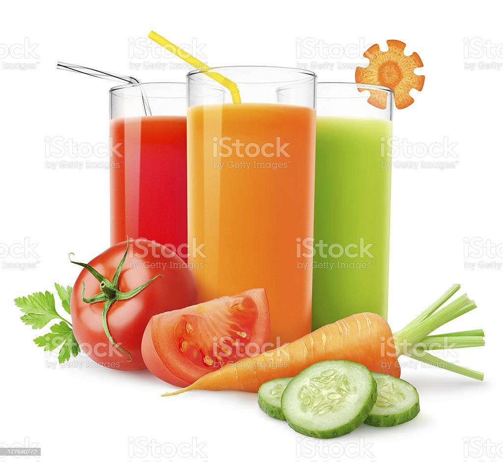 Fresh vegetable juices stock photo