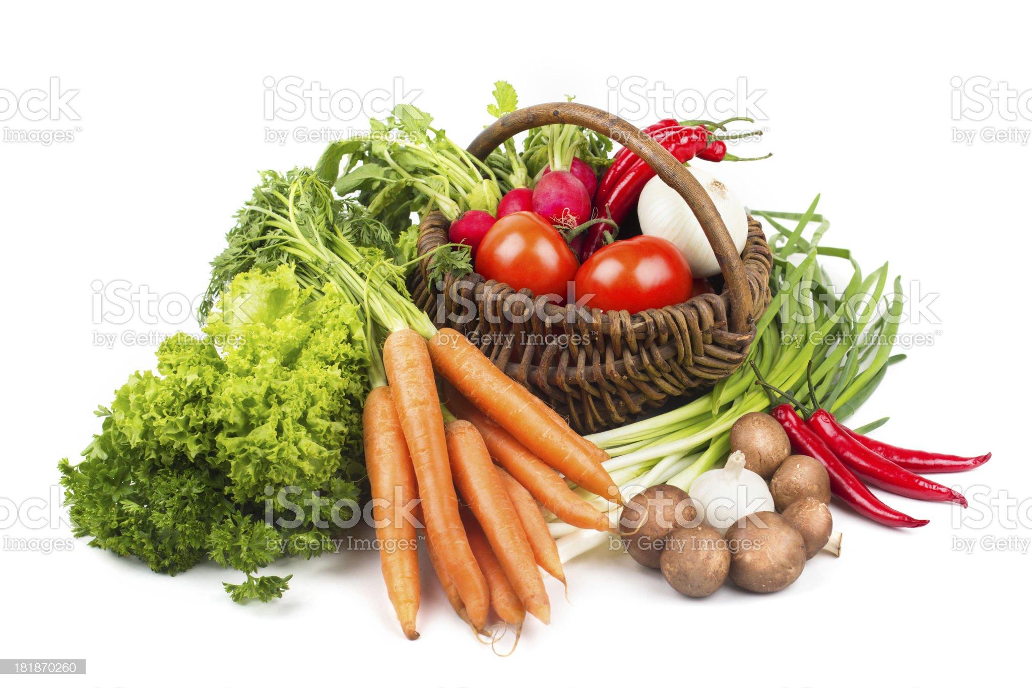 Fresh vegetable mix isolated on white royalty-free stock photo
