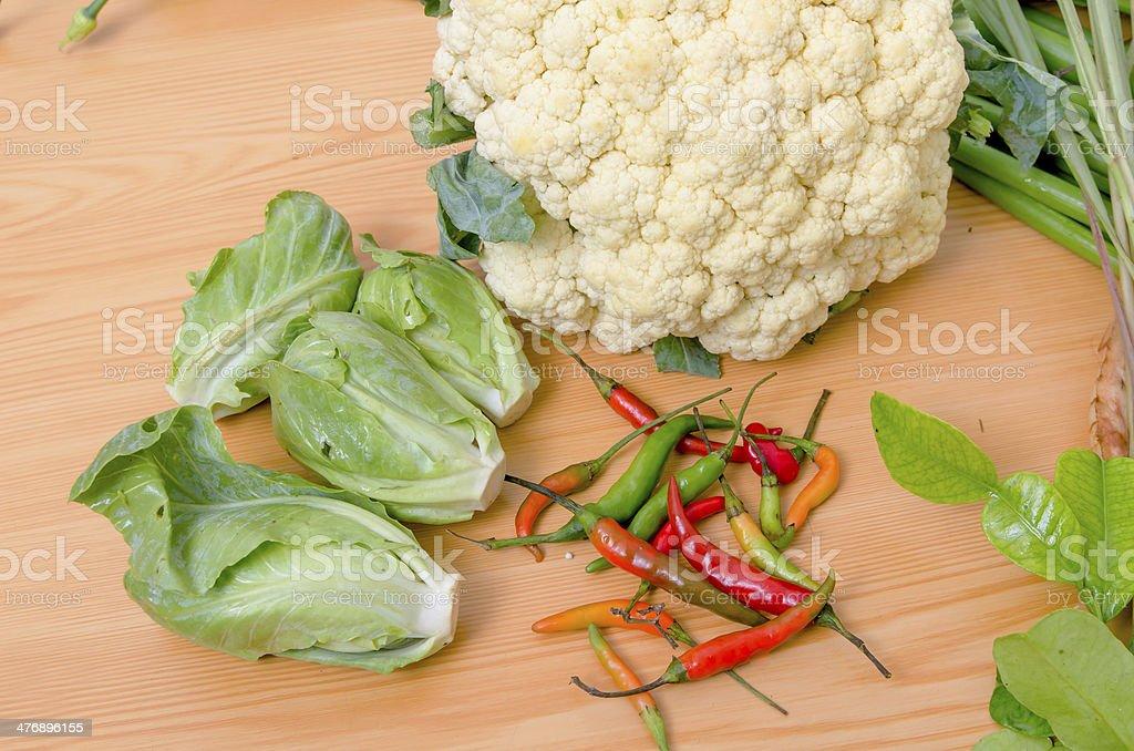 fresh vegetable on wood table stock photo