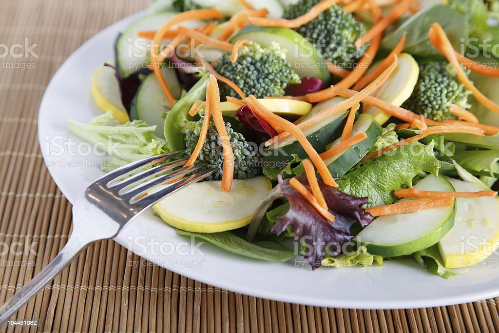 Fresh Vegetable Salad on White Plate wtih Fork royalty-free stock photo
