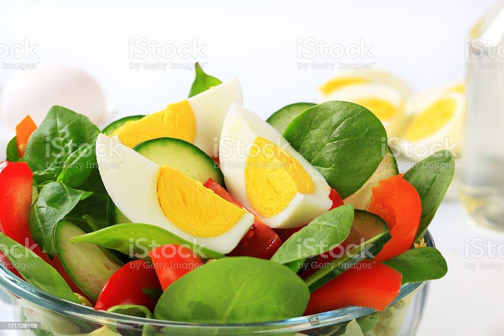 Fresh vegetable salad with a hardboiled egg stock photo