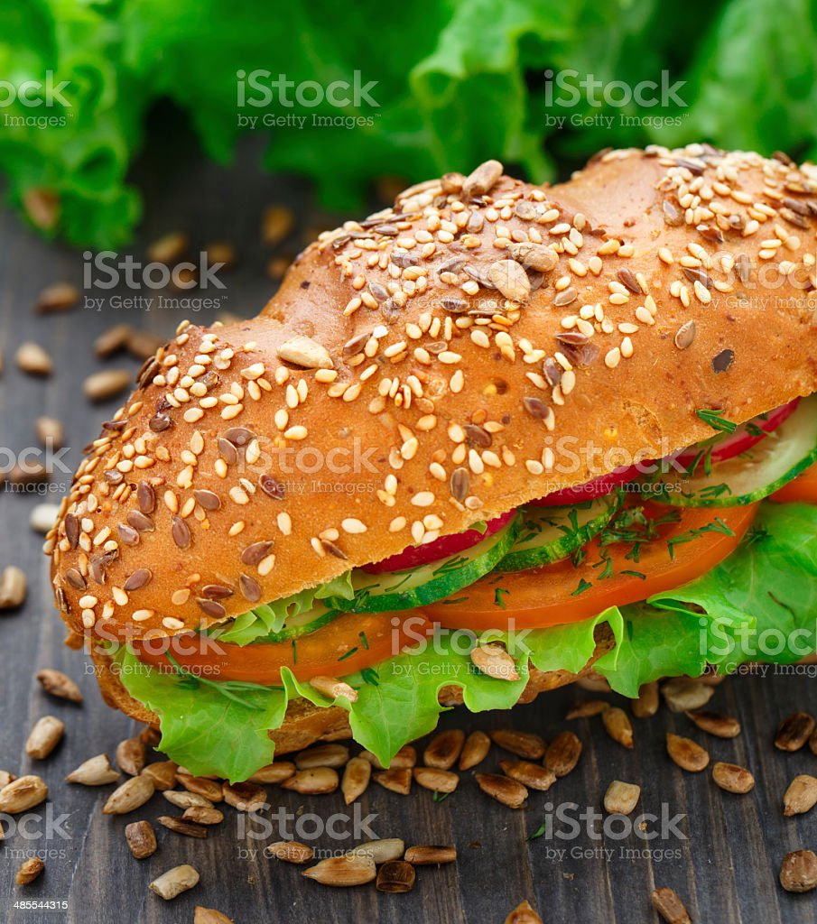 Fresh vegetable sandwich stock photo