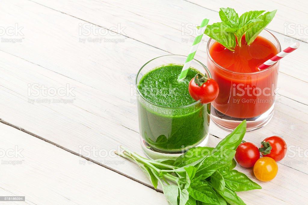 Fresh vegetable smoothie. Tomato and cucumber stock photo