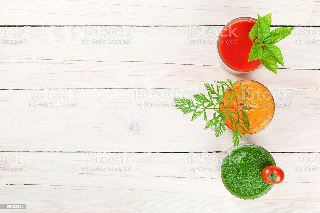 Fresh vegetable smoothie. Tomato, cucumber, carrot stock photo