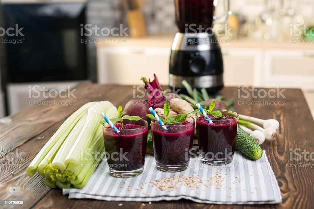Fresh vegetable smoothies stock photo
