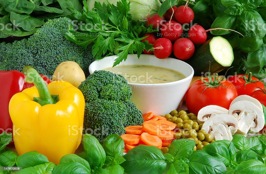 Fresh vegetable soup royalty-free stock photo