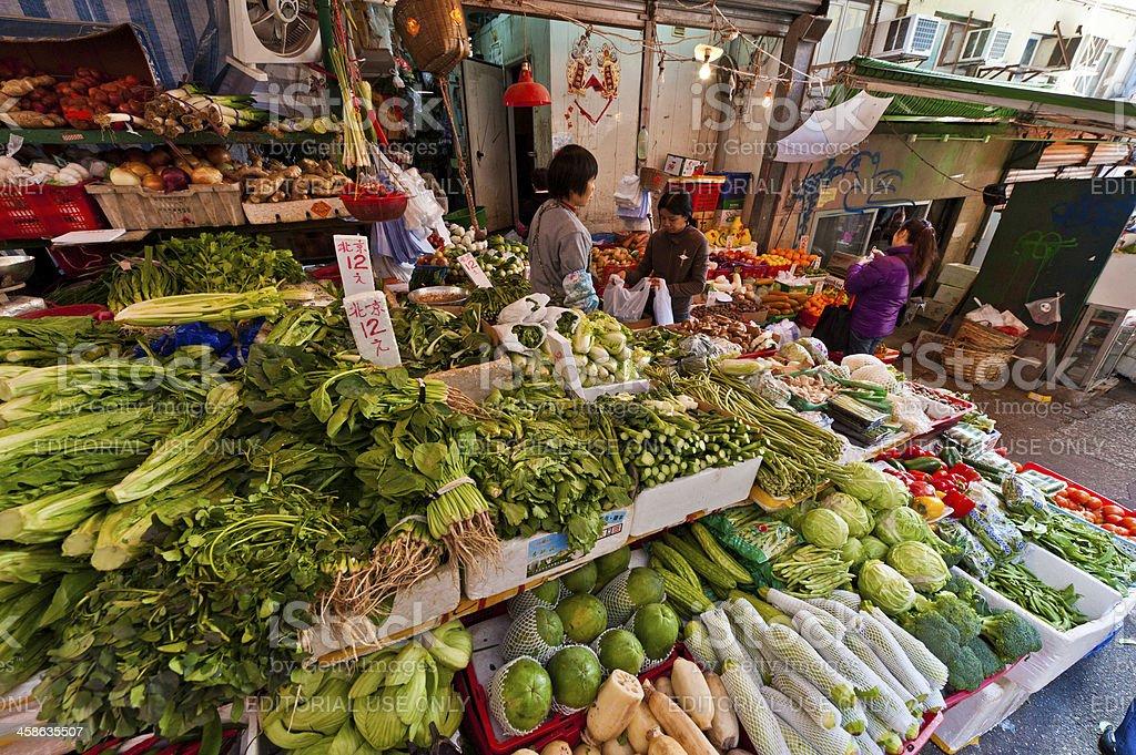 Fresh vegetable street market stall Hong Kong China royalty-free stock photo