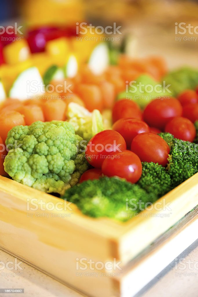 Fresh vegetable tray. stock photo