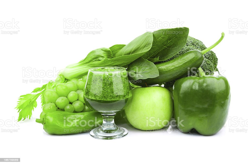 fresh vegetable variety and green juice isolated on white background royalty-free stock photo
