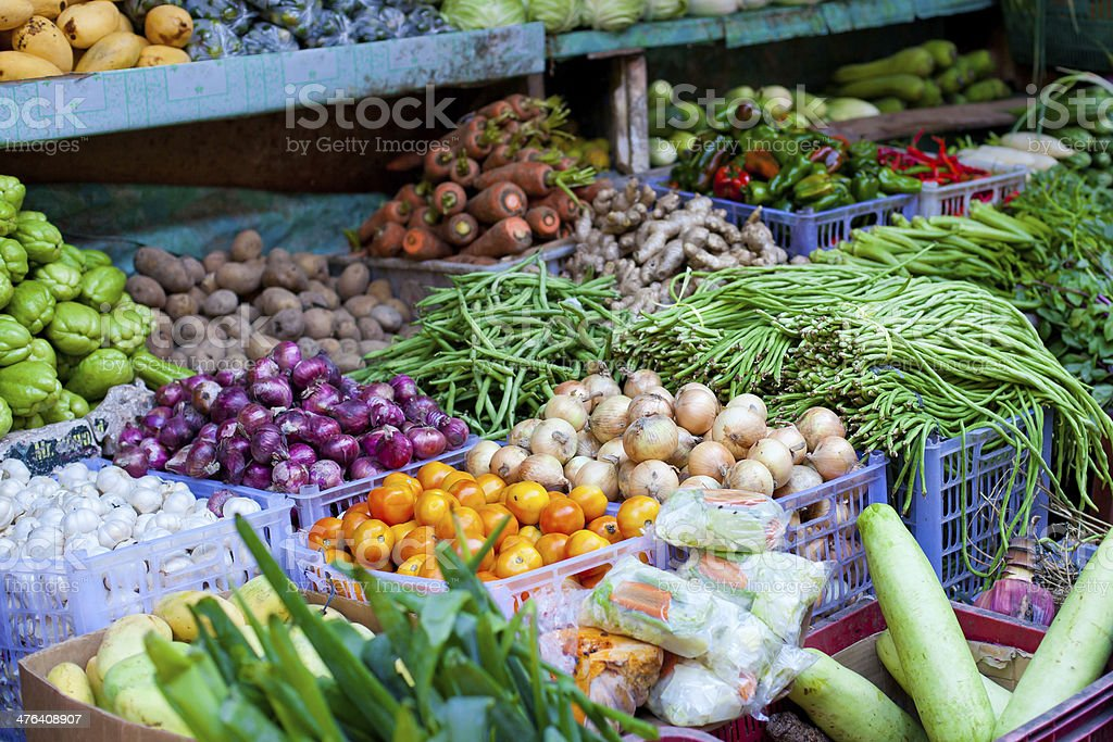 Fresh vegetables and fruits on market royalty-free stock photo
