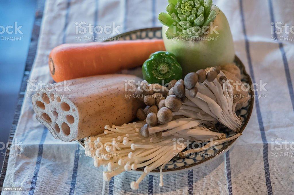 Fresh Vegetables and Japanese Mushrooms for Vegetarian Dinner in Bowl stock photo