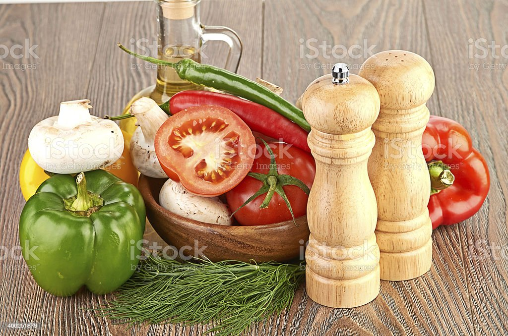 Fresh vegetables and mushrooms royalty-free stock photo