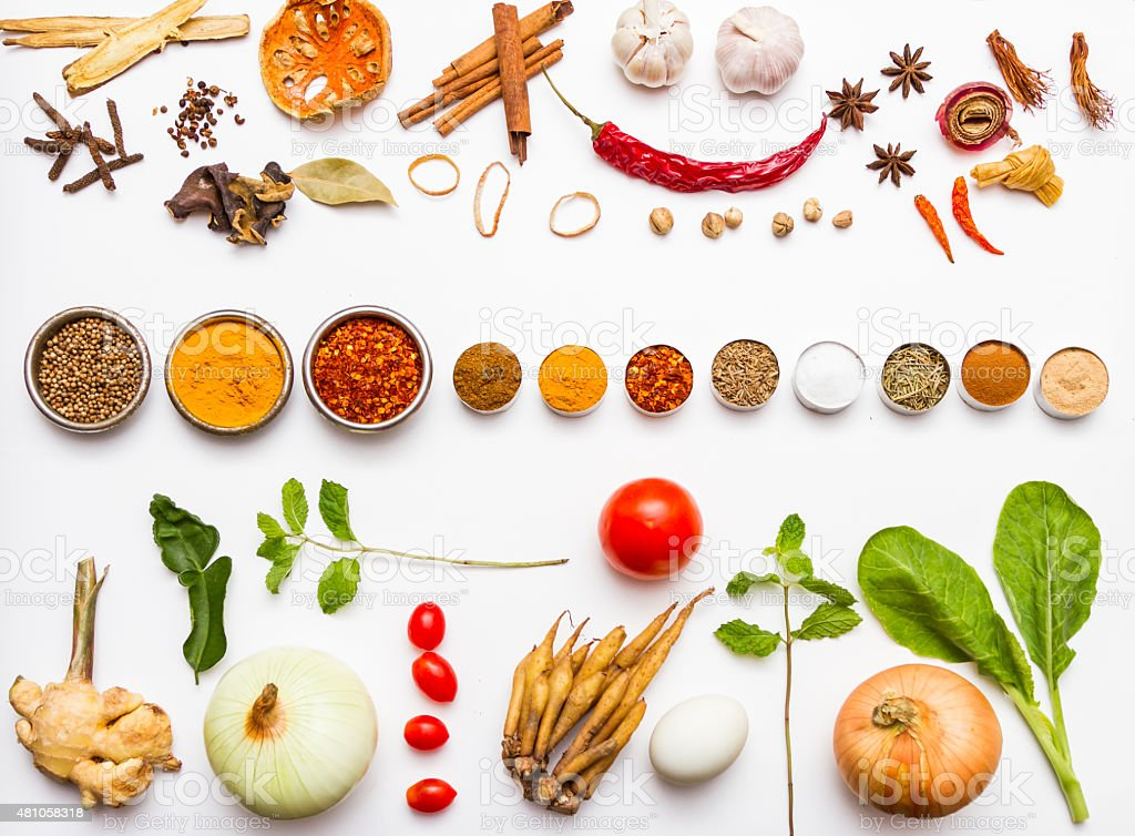 Fresh vegetables and other healthy foods on white background. stock photo