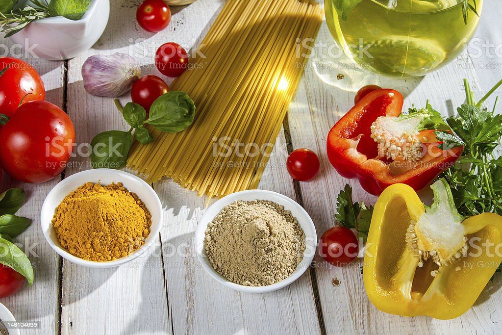 Fresh vegetables and spices royalty-free stock photo