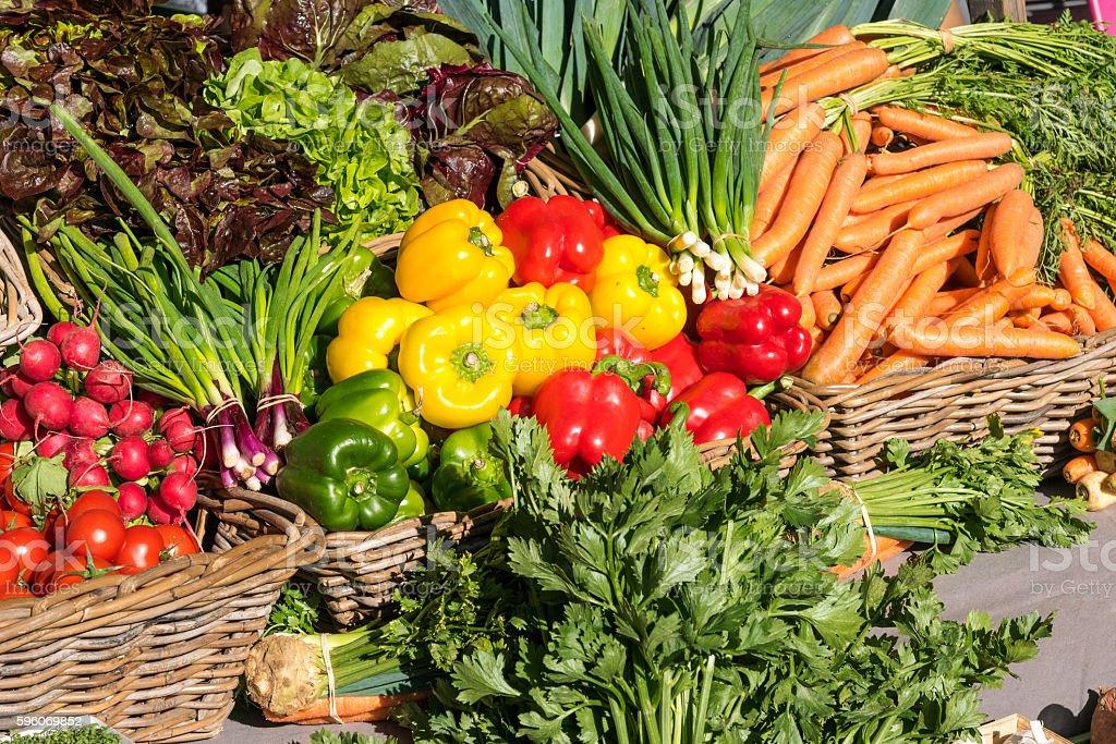 Fresh vegetables at a market stock photo