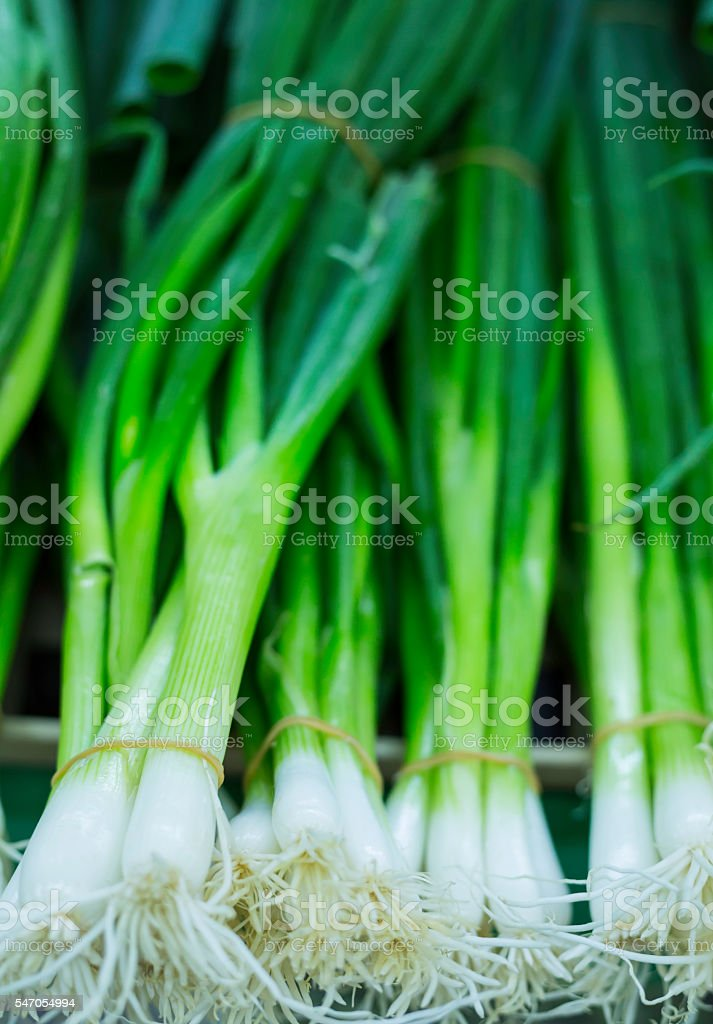 fresh vegetables at a street market - chives stock photo