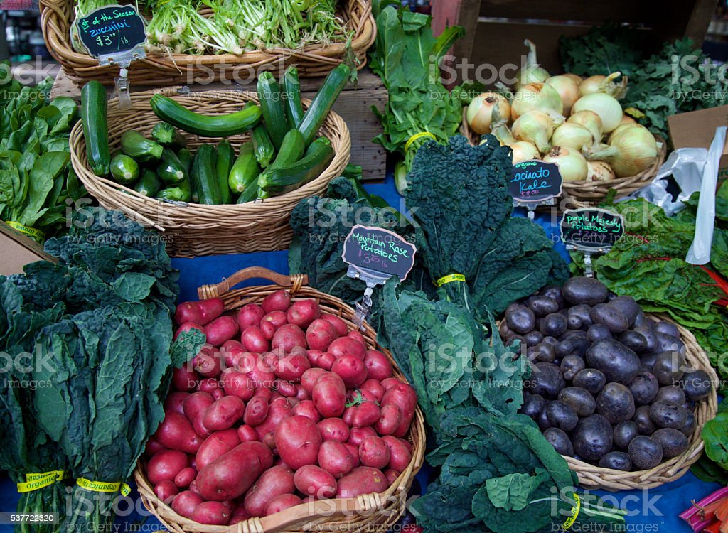 fresh vegetables at the farmer's market stock photo