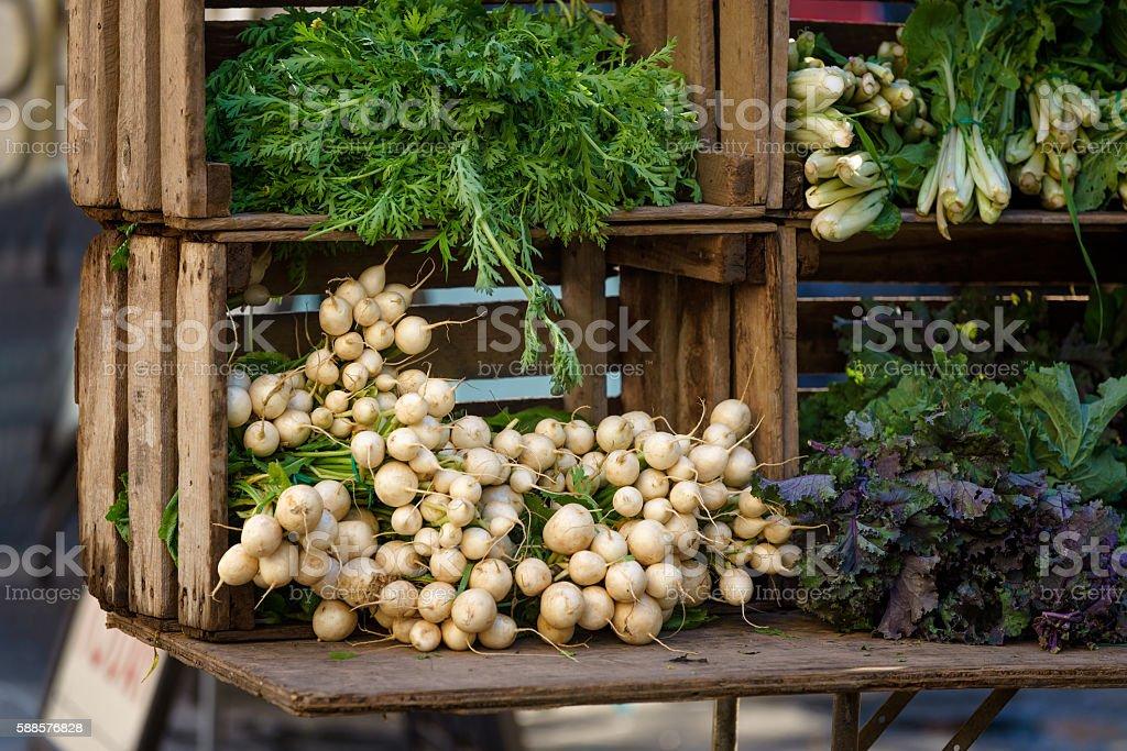 Fresh Vegetables at Union Square Greenmarket, Manhattan, New York City stock photo