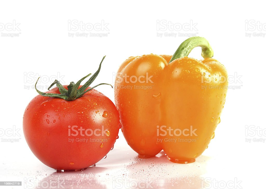 fresh vegetables close up. Pepper and tomato royalty-free stock photo