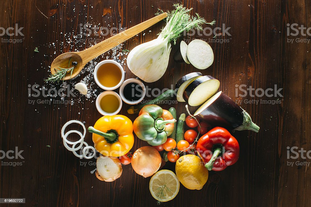 Fresh vegetables for mixed salad stock photo