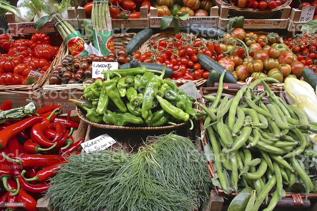 Fresh vegetables for sale on an Italian stall royalty-free stock photo