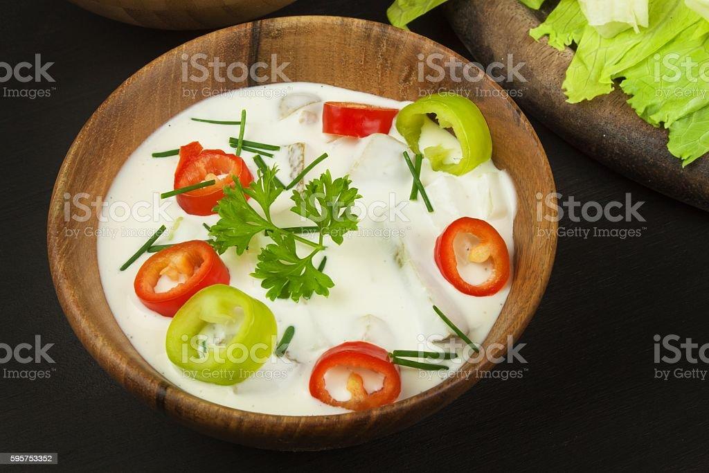 Fresh vegetables for snacks with dressing. Dip for vegetables. stock photo