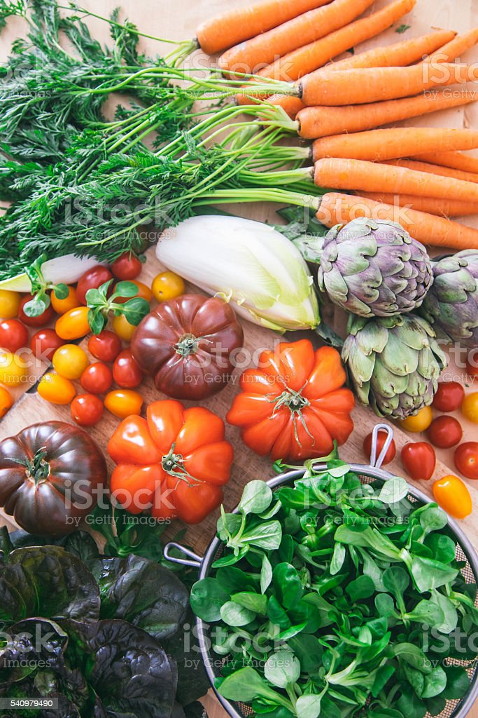 Fresh vegetables from a market stock photo