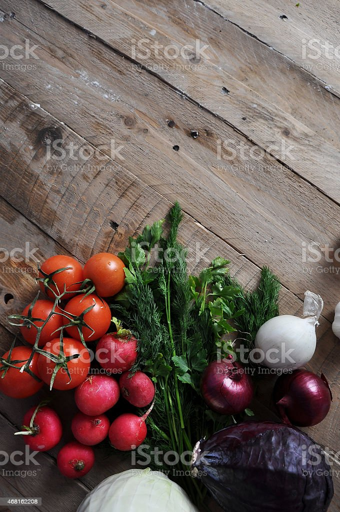 Fresh vegetables from market on table stock photo