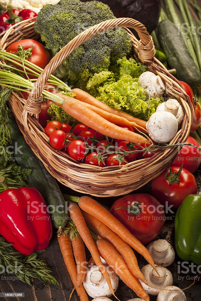 Fresh vegetables in a basket royalty-free stock photo