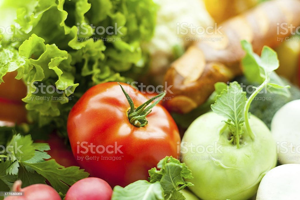 Fresh vegetables in basket royalty-free stock photo