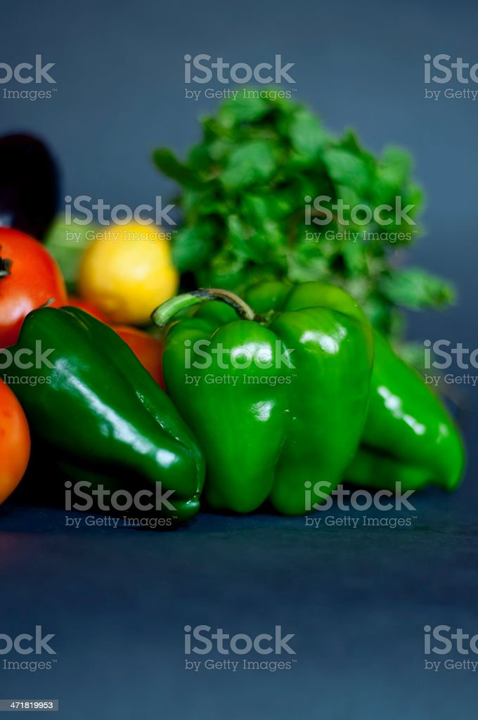 Fresh Vegetables in blue isolated royalty-free stock photo