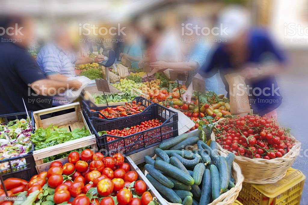 Fresh  vegetables in famous outdoor market in Rome stock photo