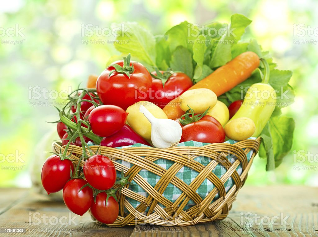 Fresh vegetables in the basket royalty-free stock photo