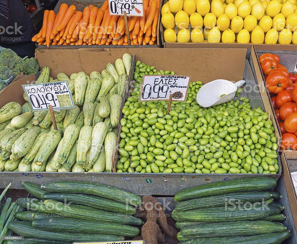 Fresh vegetables on a market royalty-free stock photo