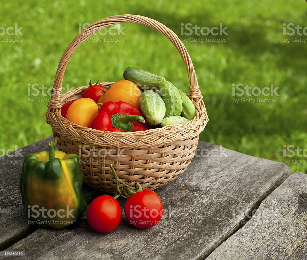 fresh vegetables on garden table royalty-free stock photo