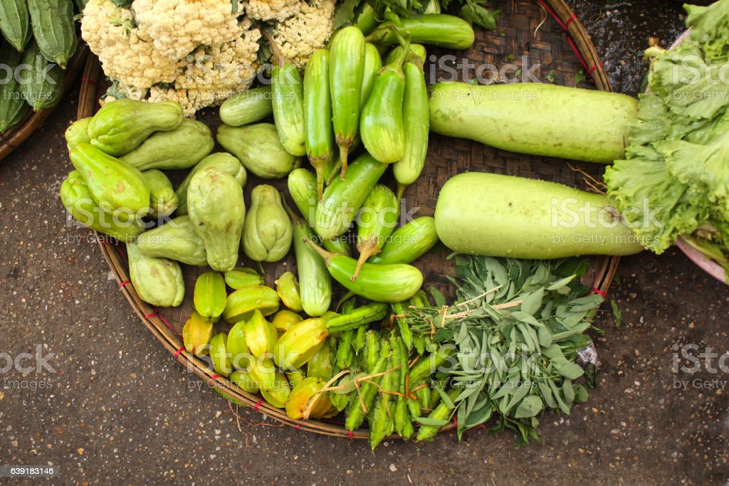 Fresh vegetables on morning chinese market, Yangon, Myanmar (Bur stock photo