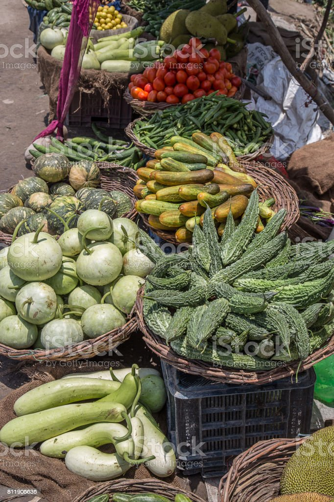 Fresh vegetables on sale at a street market stock photo