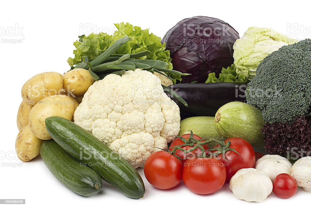 fresh vegetables on the white background royalty-free stock photo