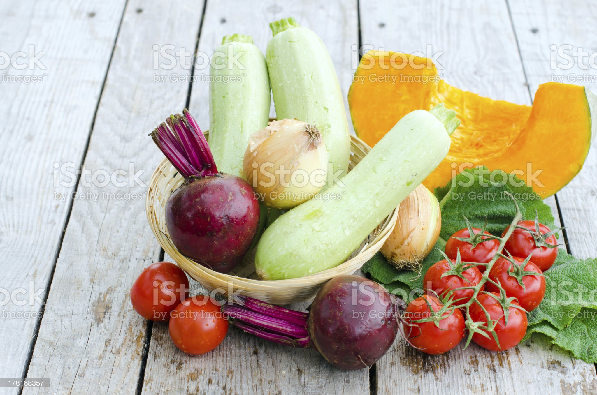 Fresh vegetables on the wooden background royalty-free stock photo