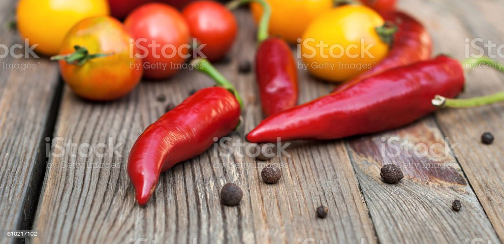 Fresh vegetables on the wooden table stock photo