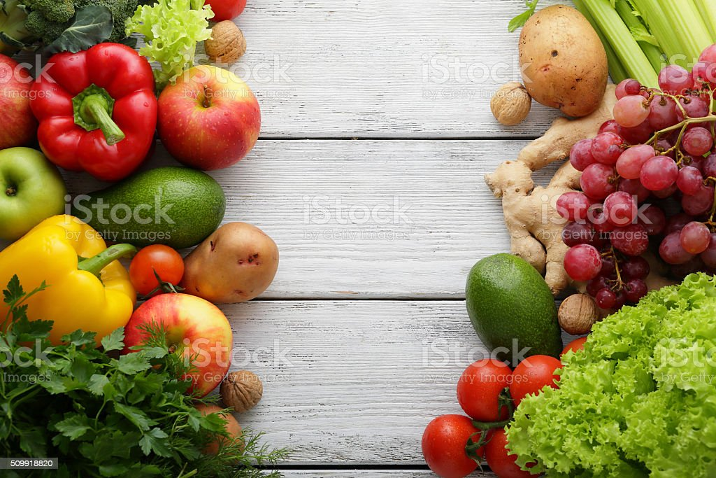 fresh vegetables on white boards stock photo