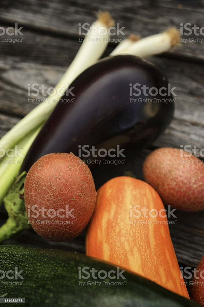 Fresh vegetables on wood background royalty-free stock photo