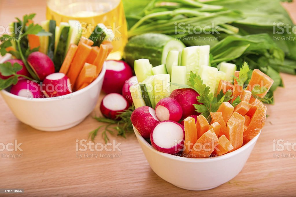 Fresh vegetables ready to eat royalty-free stock photo