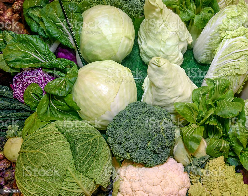 Fresh vegetables. Savoy, chinese,red cabbage, broccoli, cauliflower, romanesco broccoli stock photo
