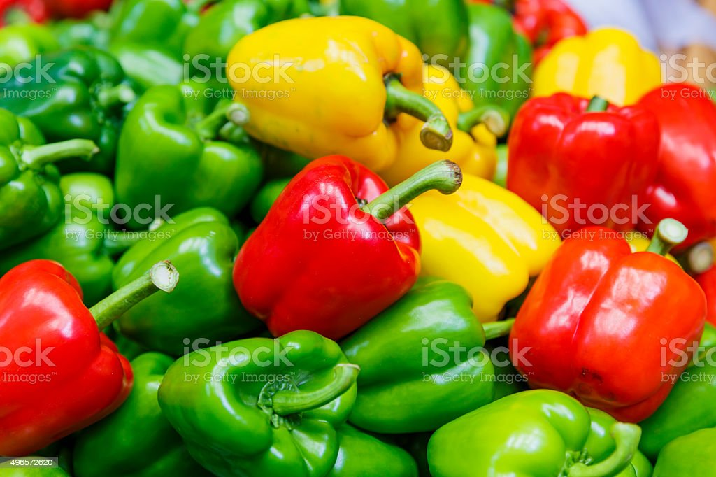 Fresh vegetables Three sweet Red, Yellow, Green Peppers stock photo